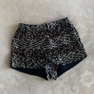 Topshop high waisted sequin shorts